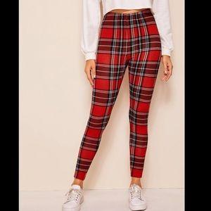 Women's high waisted red plaid tartan leggings